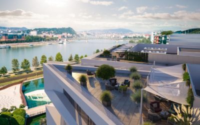 Tenants will have the chance to marvel at the Danube from the Millennium Gardens office building's roof-top terraces